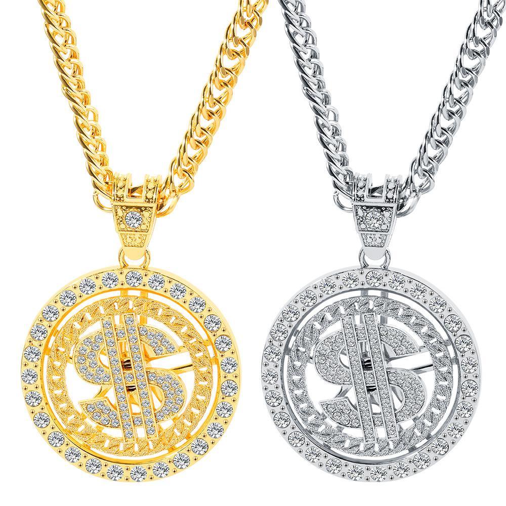 جودة عالية مثلادة من ضربة بلينغ الهيب هوب النساء الرجال المجوهرات المختنق ارتباط سلسلة الذهب والفضة الولايات المتحدة الدولار قلادة قلادة