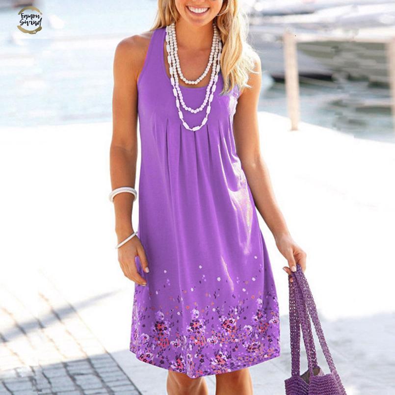Venda Hot Mulheres Vestidos Verão Floral Impresso solto Vestido Feminino Casual Robe Femme Ete vestido Mais de roupas Tamanho do desenhador