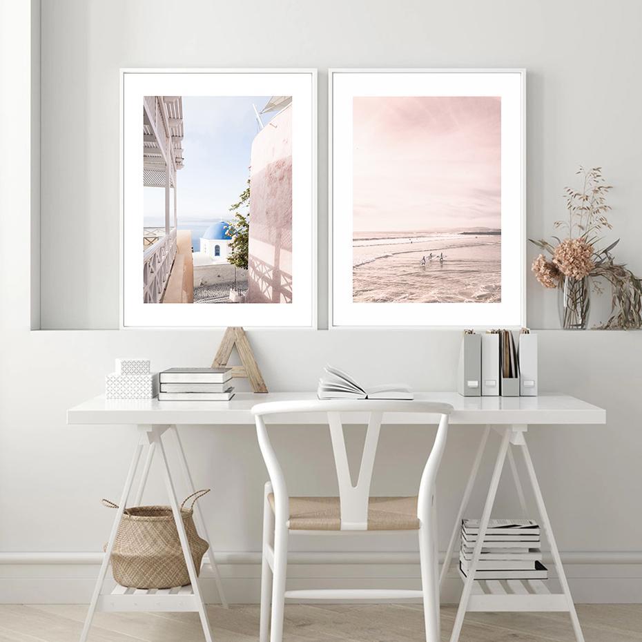 Moderna Rosa Mediterrane Paesaggio di arte della parete della tela di canapa Pittura Poster Stampe Picture per Galleria Interior di soggiorno Home Decor