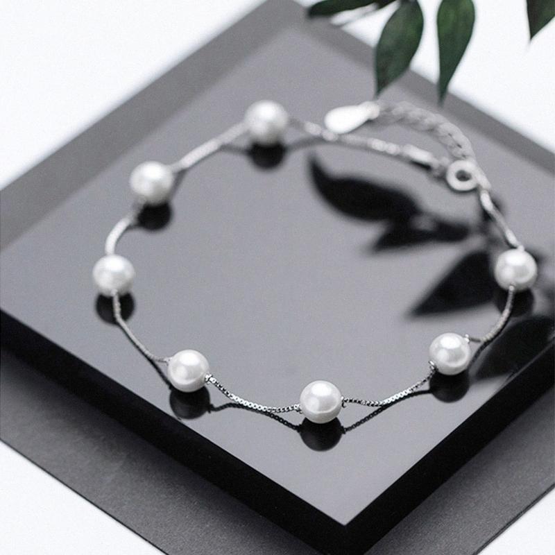 Anklet perla per le donne 925 sterling argento stile carriera S925 cavigliera Braccialetti Beach Boho Foot Jewelry Wedding Valentine's Day LS3R #