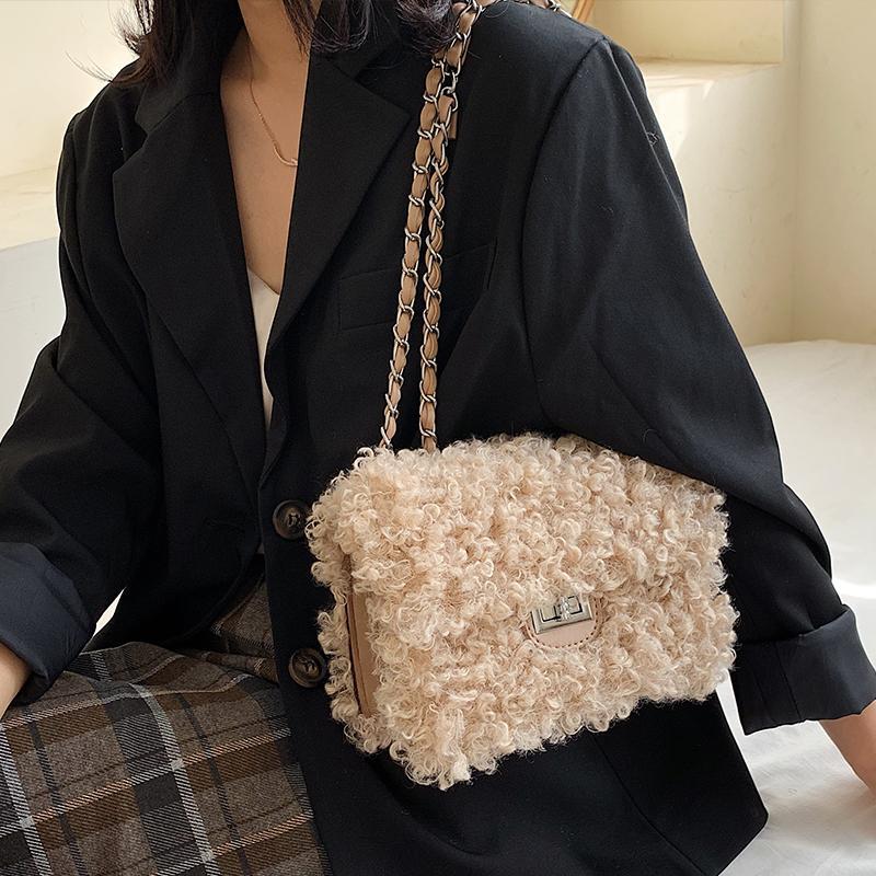 Chain Winter Fashion Quality Square Crossbody Bag High New Handbag 2021 Lock Messenger Soft Women's Shoulder Plush Designer Kpsdr