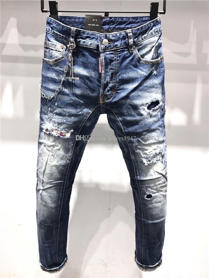 Dsquared2 Dsq2 SS20 neue Ankunfts-hochwertige Designer Männer D2 Denim cooler Typ Jeans Stickerei Hosen Fashion Holes Hosen Italien Größe 44-54 A189