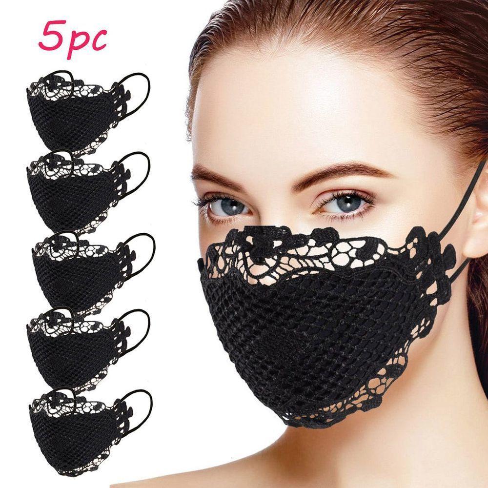 Çıkışı Narin Dantel Aplike Yıkanabilir ve Yeniden kullanılabilir Ağız Yüz Maskesi Yüz maskesi