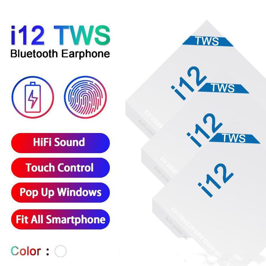 i12 TWS Wireless Earbuds Bluetooth 5.0 Headphone Smart Touch Control Headset Auto Pairing Auto Power on Binaural Call POP UP window Earphone