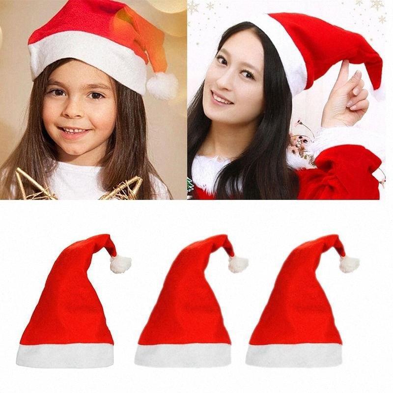 Navidad de Santa Claus rojo gorras y sombreros de fiesta casquillo blanco para la decoración traje de Santa Claus Navidad para los adultos de Navidad Sombrero DHC-2 3zFr #