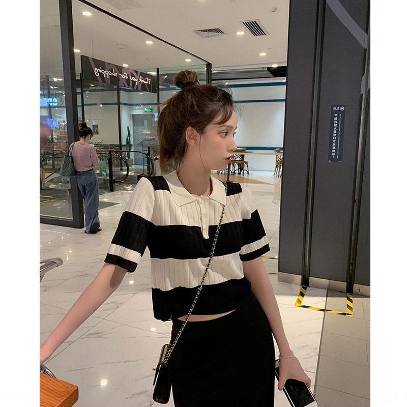 noir célébrité Internet et coutures blanches rayées à manches courtes POLO court nombril col polo maille T-shirt t-shirt femmes courtes s