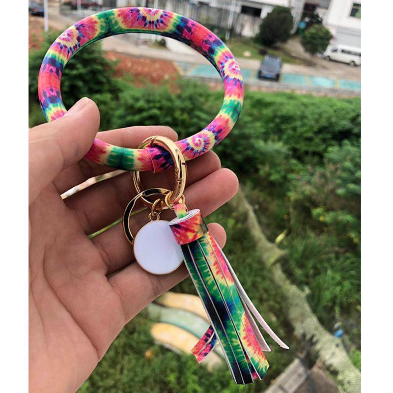 Multiple Styles Sun Flower Tie-Dyed Leather Wrap Tassels Bracelets Keychain Wristlet Bracelet Tassel Keychain Round Bangle Key Ring OWE1829