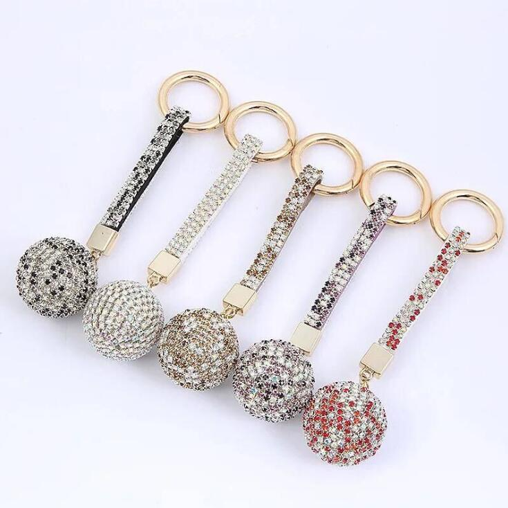 Blingbling Алмазного брелока Shiny Crystal Ball Key Ring Полной Дрель ключ автомобиль Пряжка кольцо ремень Женщина Charm сумка Подвеска украшение DHF1198
