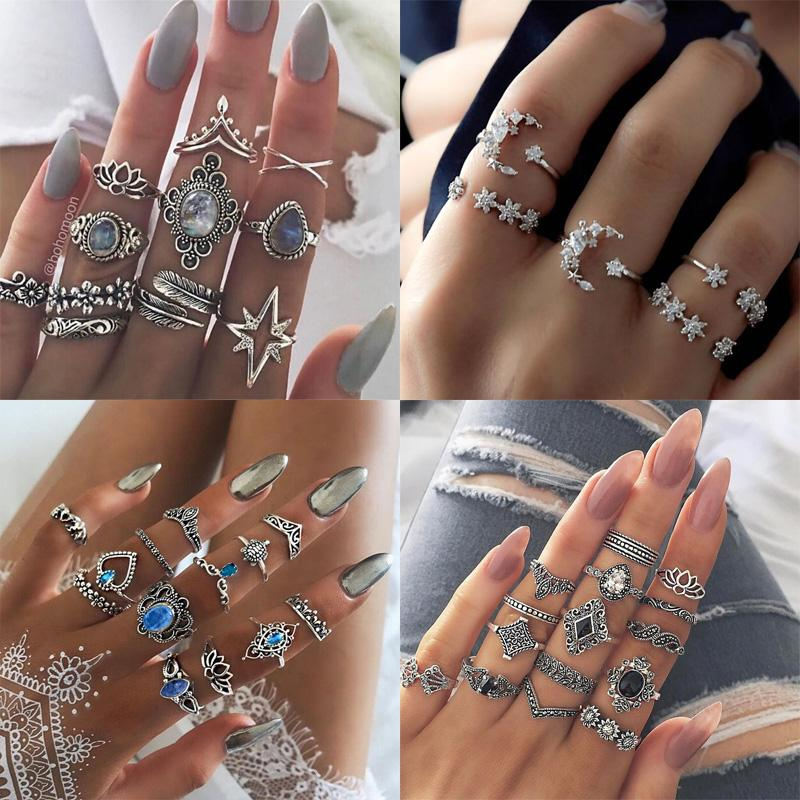 Hot Selling European and American Fashion Opal Diamond Finger Ring Women Girls Silver Stackable Toes Ring Jewelry Set