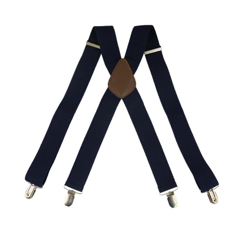 Winfox Rouge Noir Blanc 3.5cm large bretelles pour hommes croisillons 4 élastiques clip mâle Suspenders