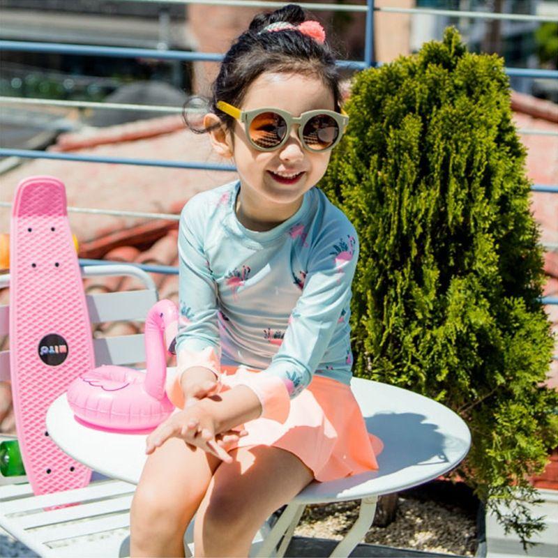 2019 der neuen Kinder Mädchen lange Hülse des Babys Sonnenschutz Baby Orange Flamingo 2019 der neuen Kinder Badeanzug Mädchen lange Hülse Sonnenschutz