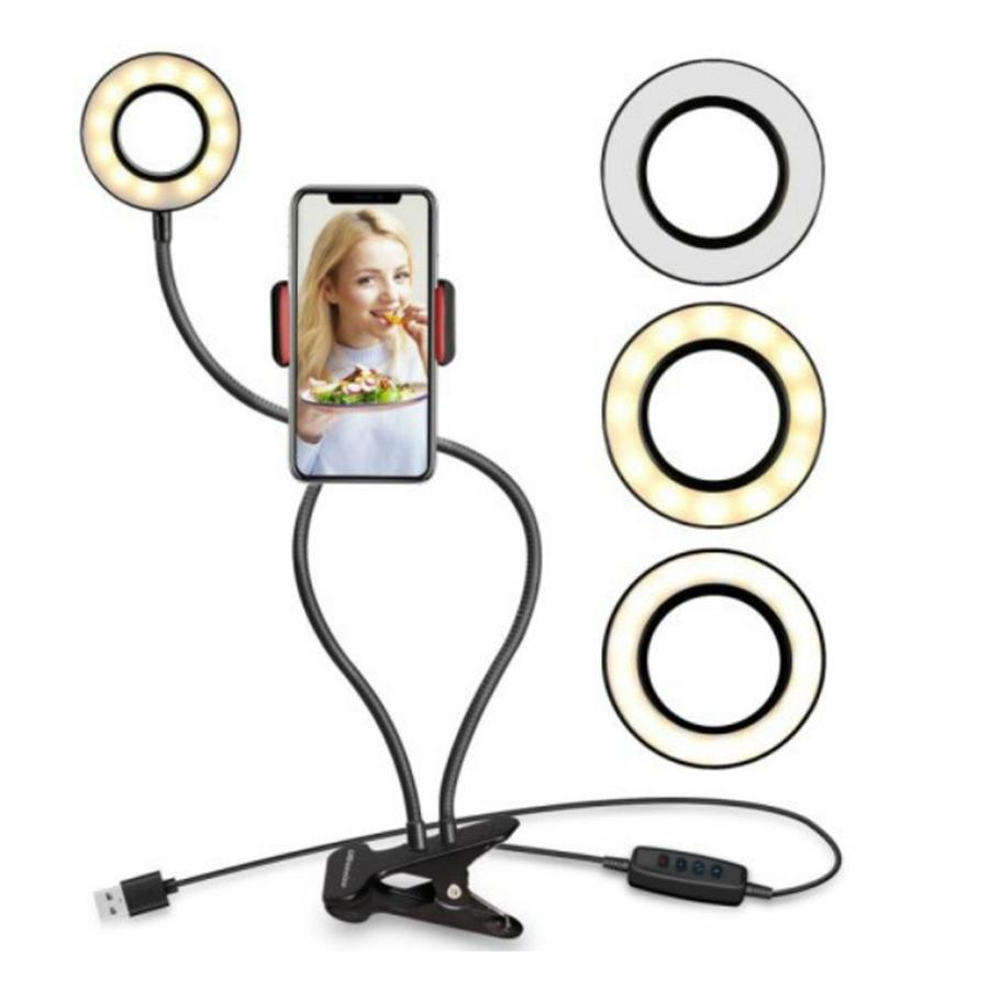Selfie Ring Light with Flexible Mobile Phone Holder Lazy Bracket Desk Lamp LED Light for Live Stream Party Favor Lampe De Bureau Mobile