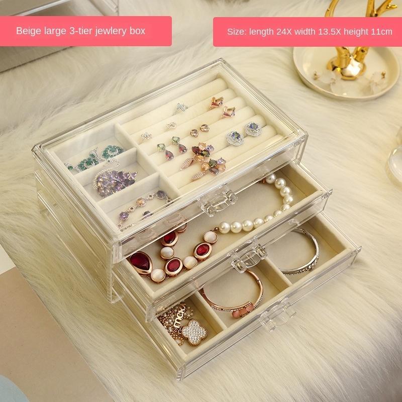 boucle d'oreille collier de stockage de bijoux en rack acrylique grand rangement boucles d'oreilles boîte et boîte à bijoux de capacité ins de style