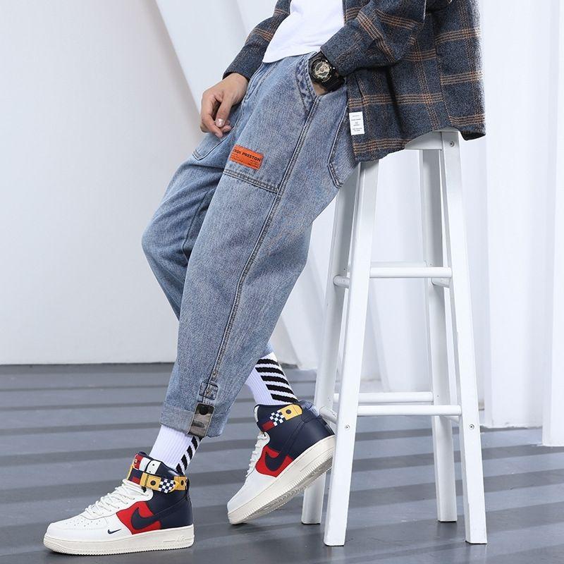 dos homens F206x a5XpD Jeans Jeans retos solta e calças calças calças dos homens da marca na moda estilo coreano tudo-match grande tamanho perna larga uma gordura