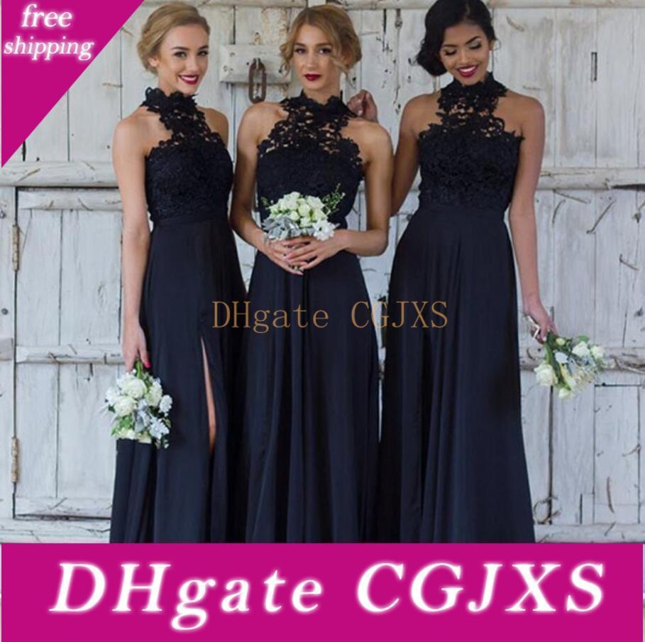 2019 Lacivert Dantel Uzun Gelinlik Modelleri A Hattı Yüksek Boyun Kat Uzunluk Gelinlik törenlerinde şifon Bölünmüş Wedding Guest Elbiseler