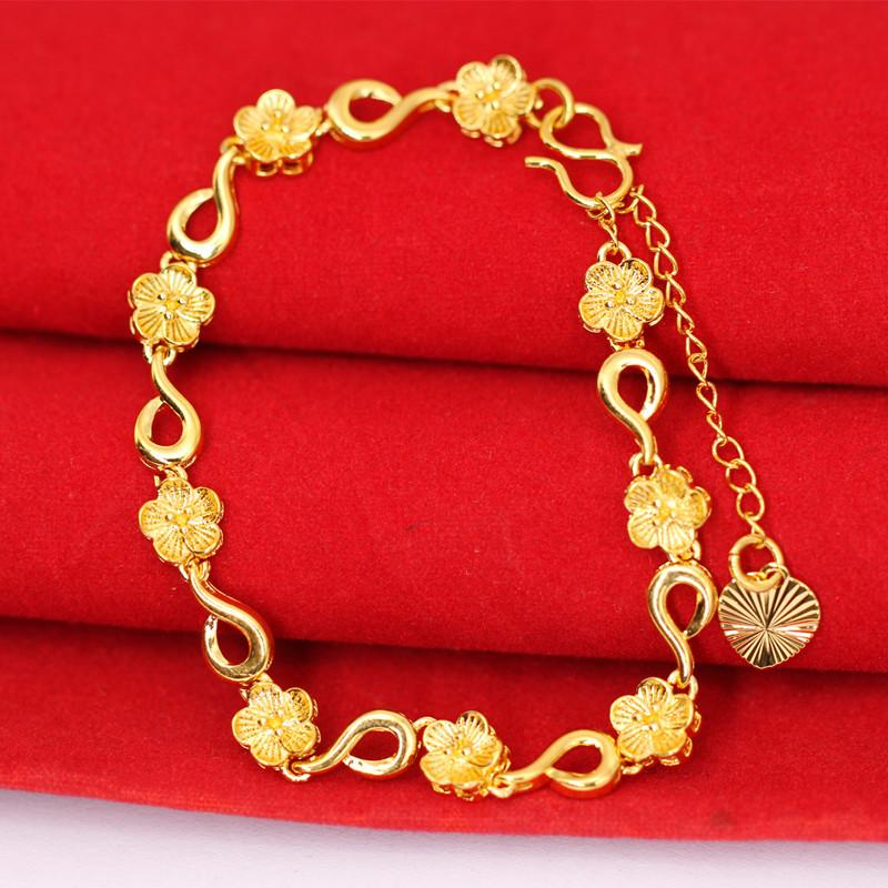 Women Yellow Gold Bracelets For Girls Real 24K Gold Plated Flower Bracelets Jewelry Fashion Trendy Design Heart Charms Chain Bracelet Gift