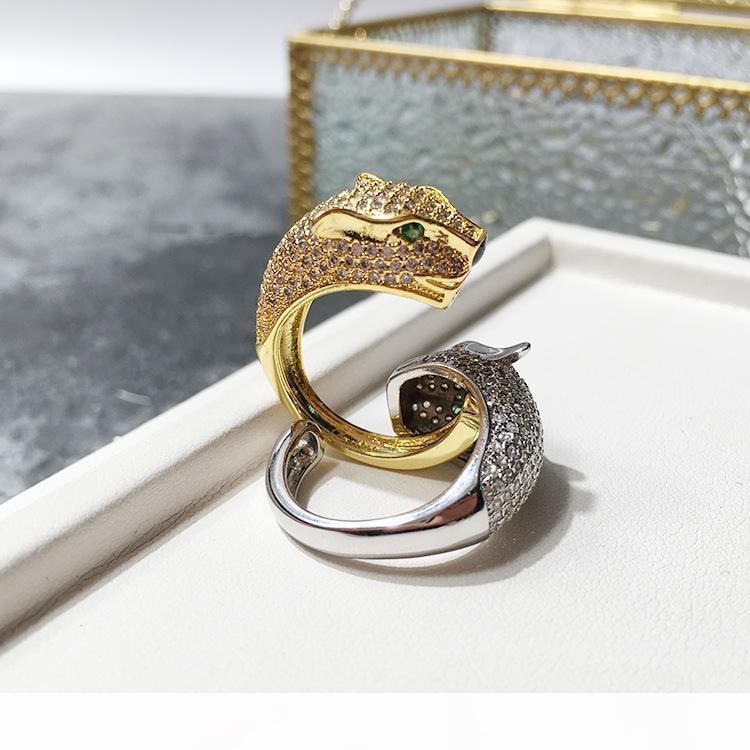 Venta de la manera Señora de latón diamante completo del leopardo pantera boda del compromiso 18K plateó los anillos abiertos 2 Color Un tamaño