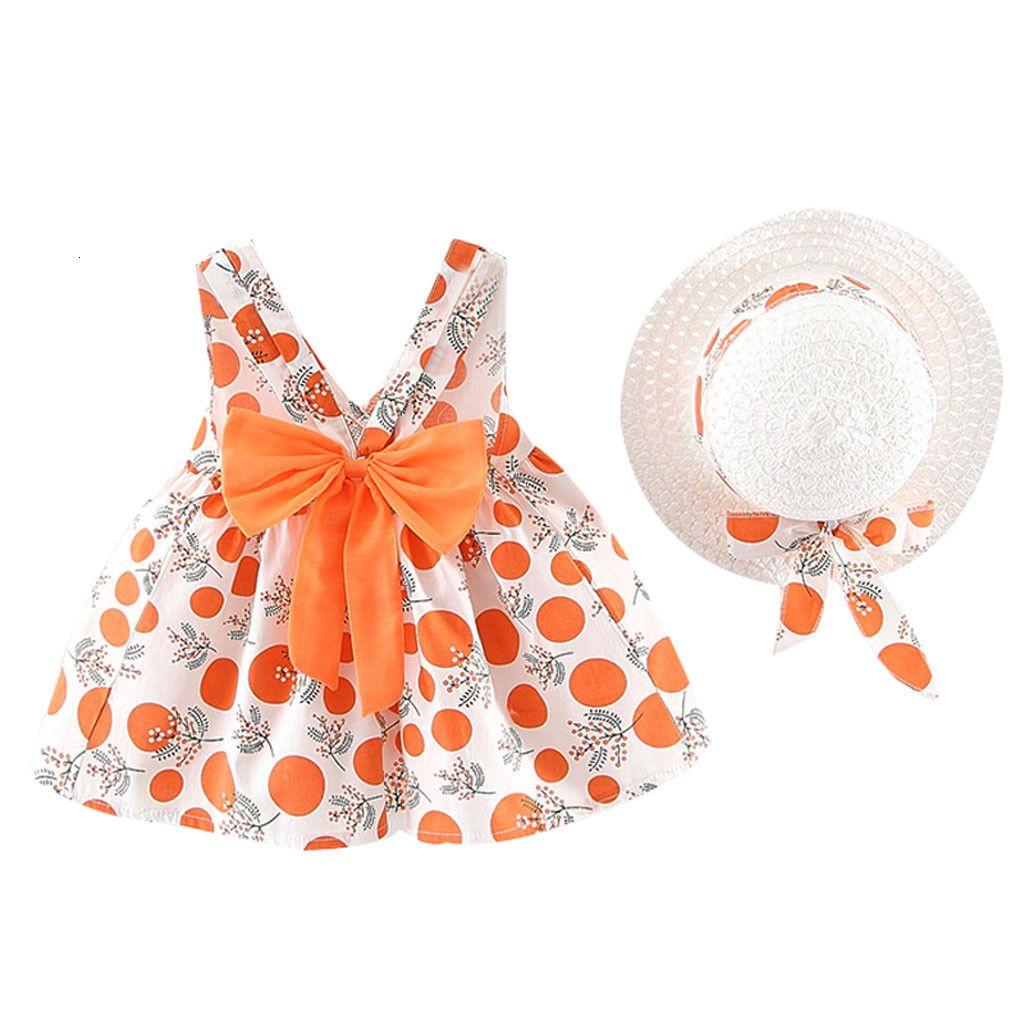 Toddler Girls Dresses 2020 Summer Hat 2 Piece Set Children's Clothes Baby Sleeveless Birthday Party Princess Print Dress