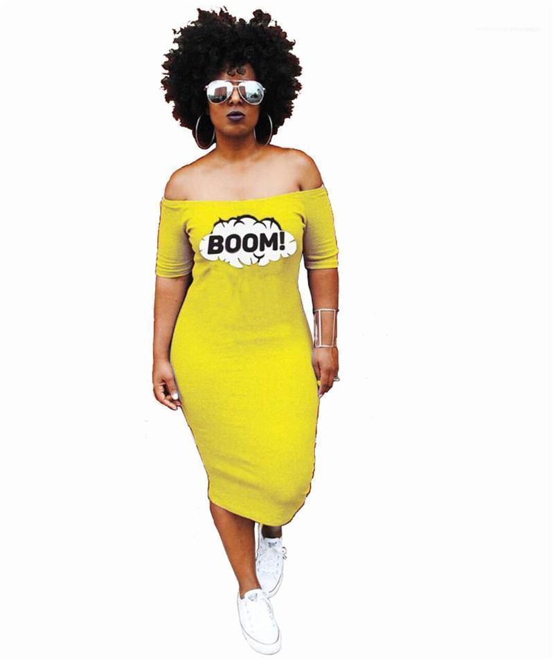 Elbiseler Vestidoes Giyim Kadın BOOM Sarı Elbise Yaz Slash Boyun Uzun Casual