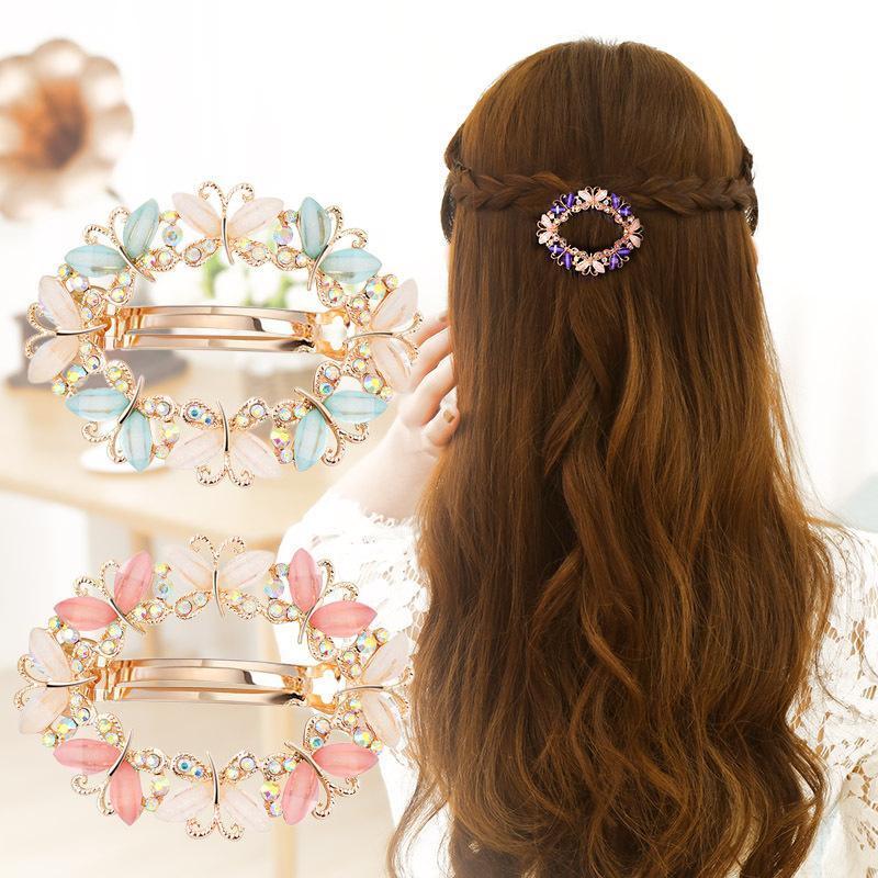 Farfalla per forcella cristallo flowe clip per capelli per ragazze da donna Barrettes Morsetti per forcelle Spilla
