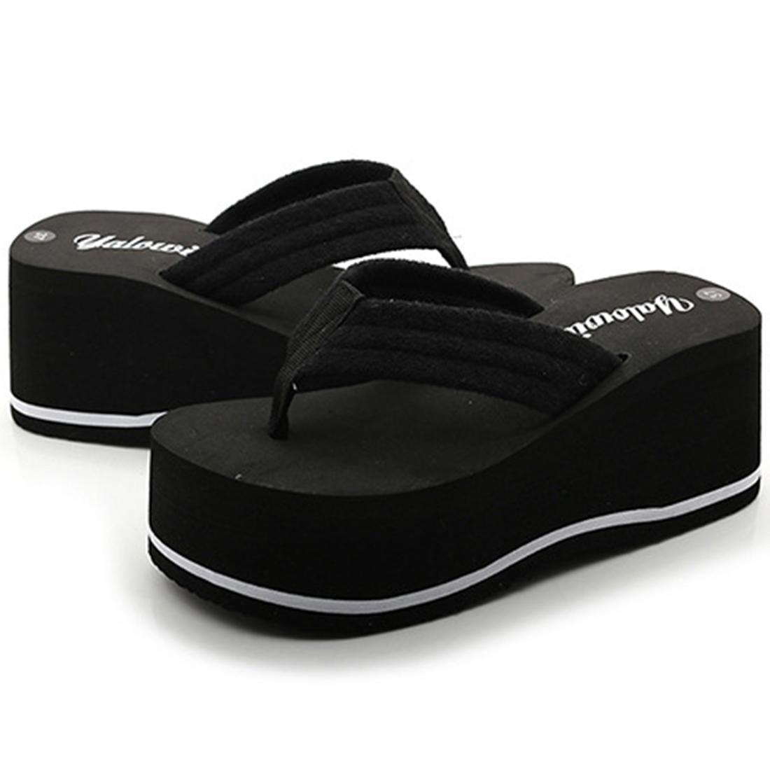 Женская мода EVA Повседневная скольжению на сандалии Клин Симпатичные летние ботинки платформы Каблуки Thong Шлепанцы Solid Color Y200405