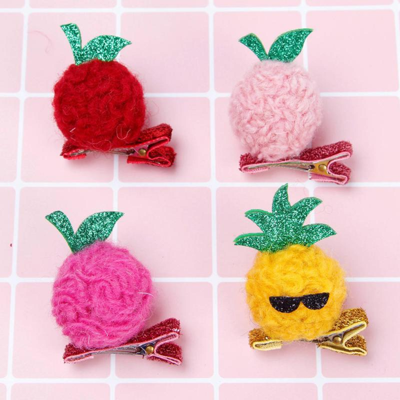 24pcs Boutique Cute Felt Pom Pom Fruits Hairpins Solid Glitter Pineapple Strawberry Hair Clips Fashion Princess Hair Accessories