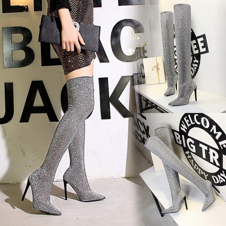 Diz Boots Uzun Stilettos Yüksek Topuklar Kadın Flock çorap Ayakkabı Üzeri Yeni Tasarım Kadın Boots Moda Sivri Burun