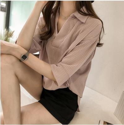 EM2cV ZwNe4 flojas de la manga y el verano nuevo estilo de Corea la camisa del resorte camisa rayada mujeres de adelgazamiento recortada 2020 todo-fósforo ocasional