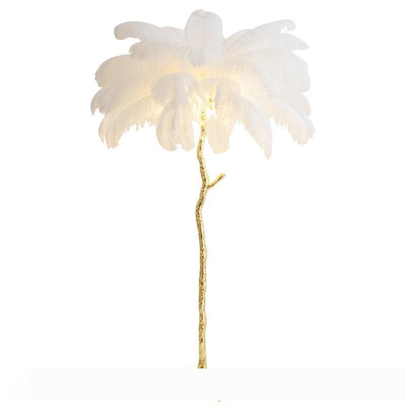 Перо торшер гостиной спальня прикроватные американский свет чистый красный перо страуса медь торшер Nordic украшение