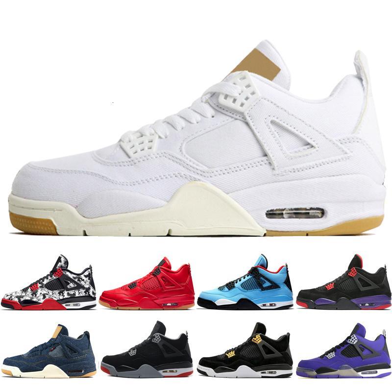 Day 4 4s Black Gum Men Basketball Shoes Travis Scotts Raptors Bred White Cement Royalty Eminem men sports sneakers designer trainers