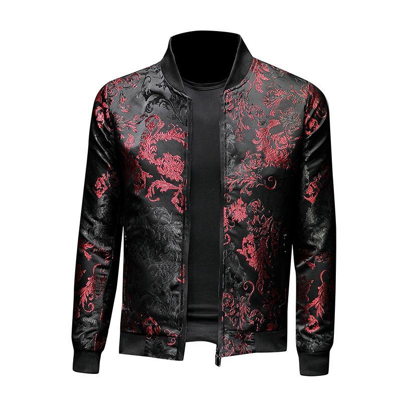 패션 남성의 꽃 재킷 자수 꽃 세련된 폭격기 재킷 남성 지퍼 포켓 아우터 코트 남성 슬림핏 Veste 남성