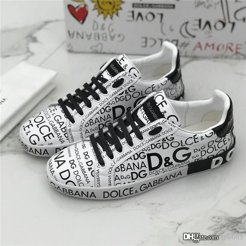 Les hommes Sneaker Portofino Imprimé Napa Calfskin Sneakers Chaussures design de luxe plates à lacets Tag Décoration semelle extérieure en caoutchouc Graffiti hommes Sn