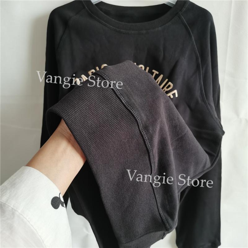 100% cotone donne O-collo Felpa signora Long Sleevce Embroideried lettere allentato manica lunga Pullover Tops Clothes