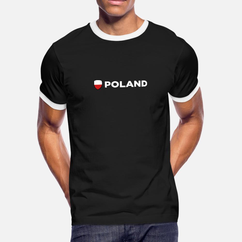Polonya t gömlek erkekler Of Ulusal Bayrak tişört O-Boyun Biçimsel Güneş ışığı Rahat İlkbahar Sonbahar Normal gömlek Tasarımları