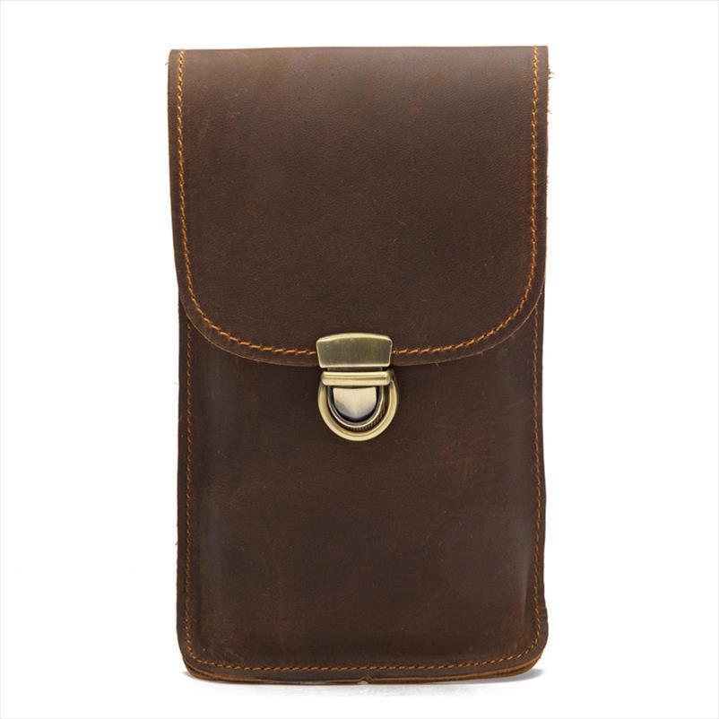 Gerçek Deri Erkek Bel Çantaları Ambalaj Tarzı Erkek Fanny Paketi Telefon Para Kart Cüzdan Erkek Kemer Çanta Vintage Hediye Heuptas Hook