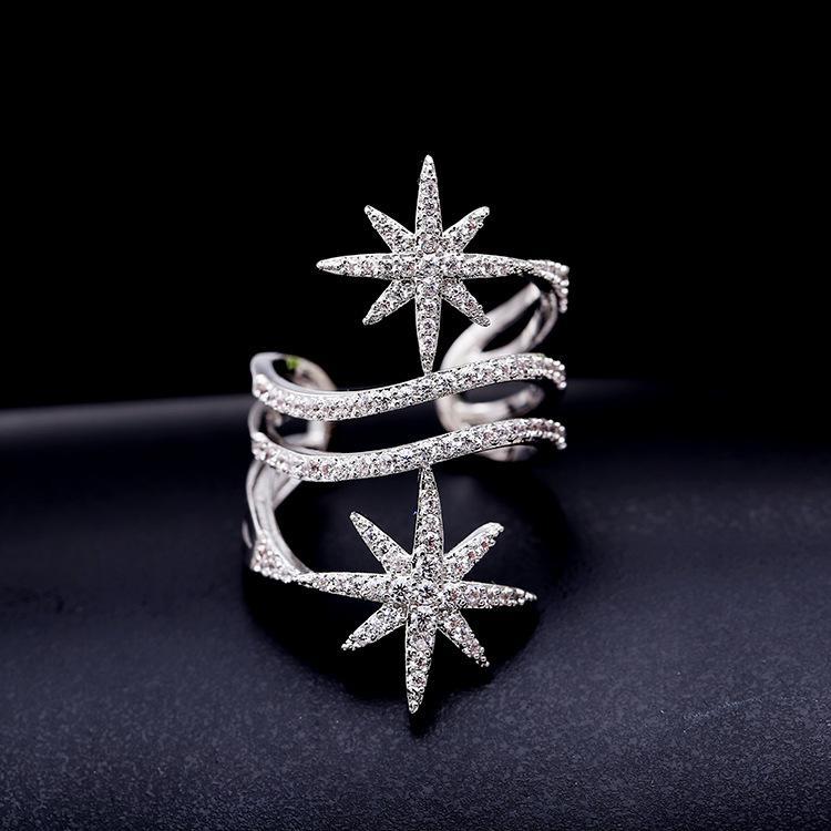 الأوروبية نجوم شخصية الأزياء الصغيرة مطعمة النساء عصابة الزركون المجوهرات فتح قابل للتعديل الراقية أبيض وأسود الزركون خاتم هدية
