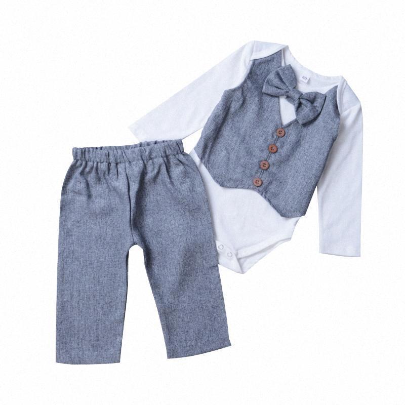 Neugeborenes Kind-Baby Gentleman Kleidung 2ST Langarm-Bogen-Grau Formal Body Tops + Long Pants-Partei-Ausstattung Uf5N #