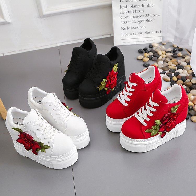 Kadın Platfprm İlkbahar Sonbahar Casual Ayakkabı Artan 2020 Yeni varış Moda İşlemeli Çiçek Kadınlar Bilek Boots Yükseklik
