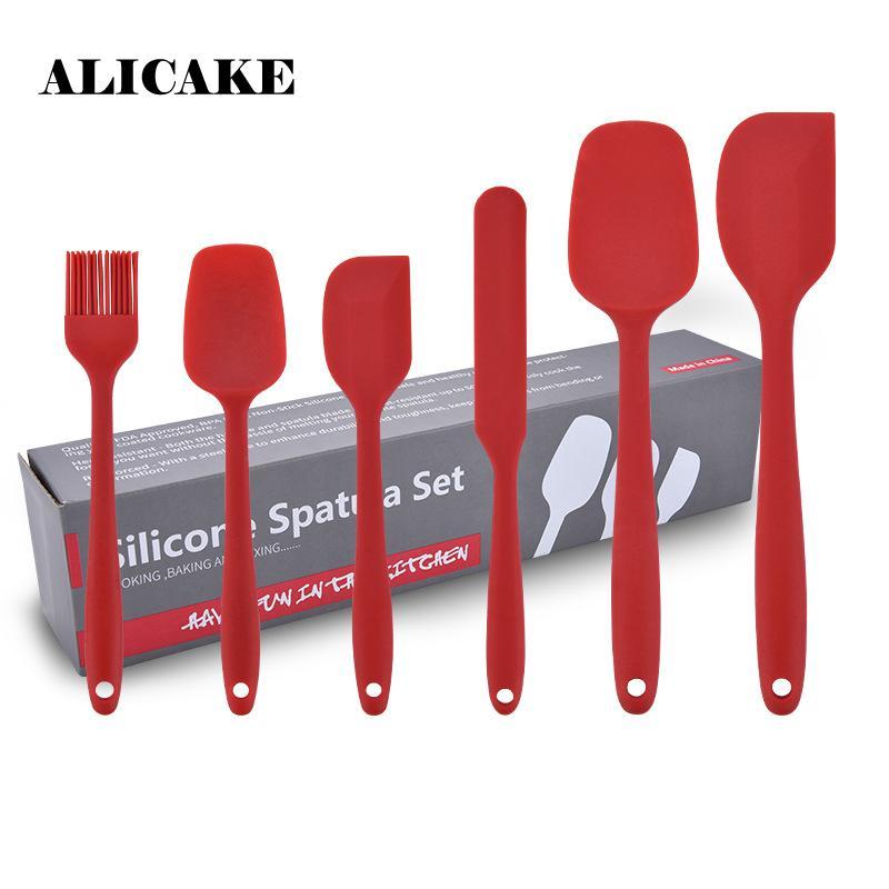 6 pezzi Set di cottura del silicone della pasticceria Spatole raschietto pala pasticceria decespugliatori silicone