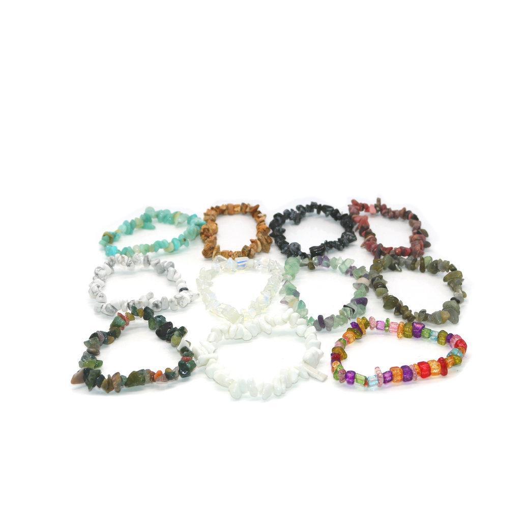 6PCS Außenhandel neue Art und Weise einfachen Naturstein Kristall Gravel Armband Unregelmäßige Gravel-elastische Armband Damen Schmuck S-085