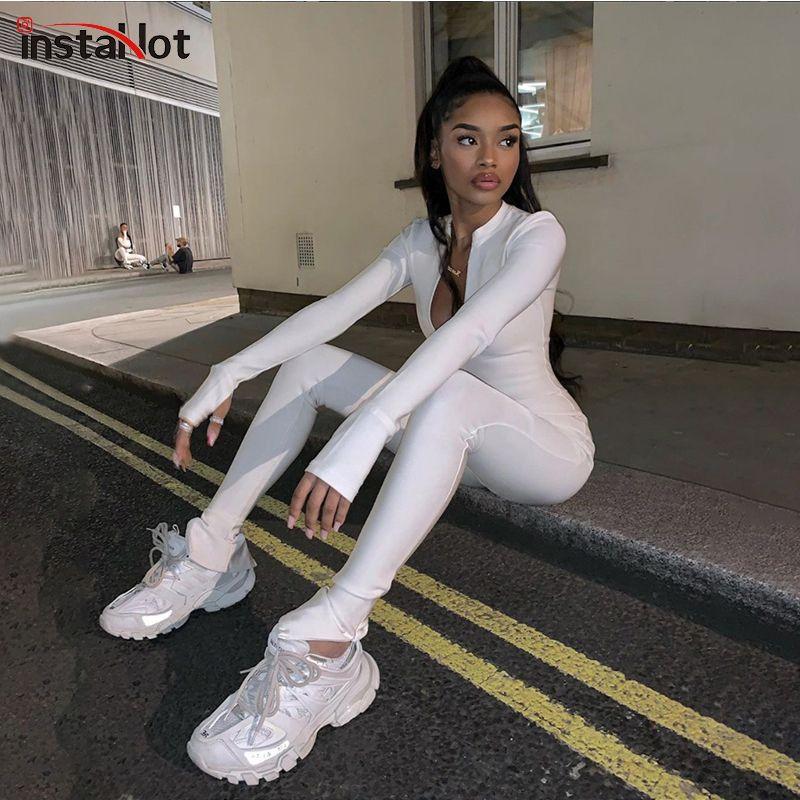 InstaHot Fermuar Seksi Skinny Jumpsuit 2020 Moda İlkbahar Bayanlar tulum Streetwear Casual Uzun Kollu Mock Boyun Jumpsuit Kıyafet T200810