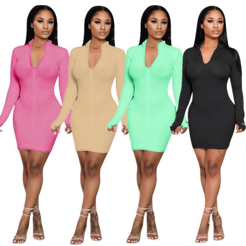 Sıcak Satış 2020 Sonbahar Son Kadınlar Katı Renk Tam Kol Mini Elbise Seksi Lady Clubwear Düşük Kesim Fermuar V-Yaka BODYCON Elbiseler