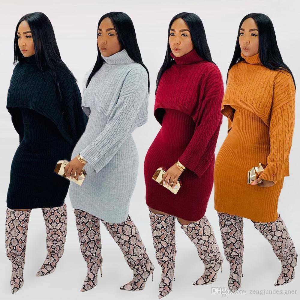 2adet Kazak Elbiseler Uzun Kollu Katı Renk Standı Yaka Moda Stil Bayan Giyim Kadın Sonbahar Tasarımcı
