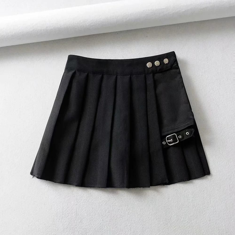 kCPFV Femmes 2020 été nouveau xia punk, qun shi Qun ji style de l'anneau de jambe noire jupe plissée personnalisée irrégulière