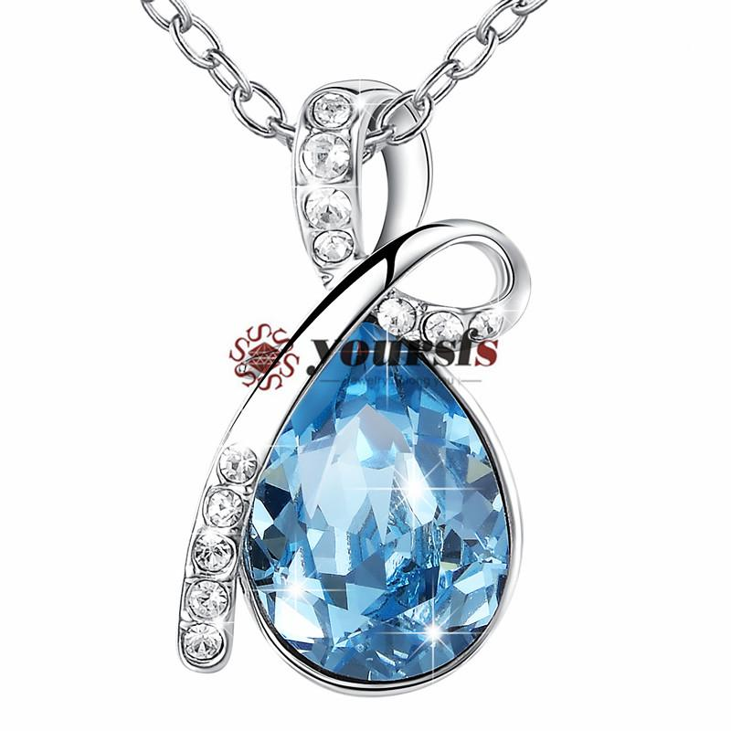 Yoursfs Necklace Aquamarine Ladies [Birthstone] Sea Heart Angel Tears cz Fashionable Necklace Mother's Day Present