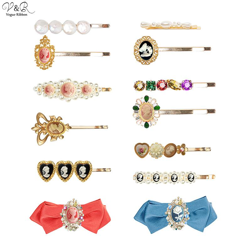 New Trendy Hair Pins 2020 Vintage Portrait Hair Clip Pin Accessories With Heart Pearl Flower Butterfly