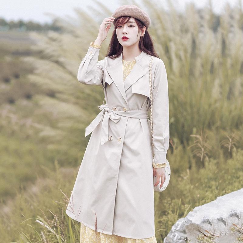 cCAkc trench Femmes 2020 Automne Nouvelle coupe-vent style coréen lâche tout match manteau mi-long manteau simple de femme