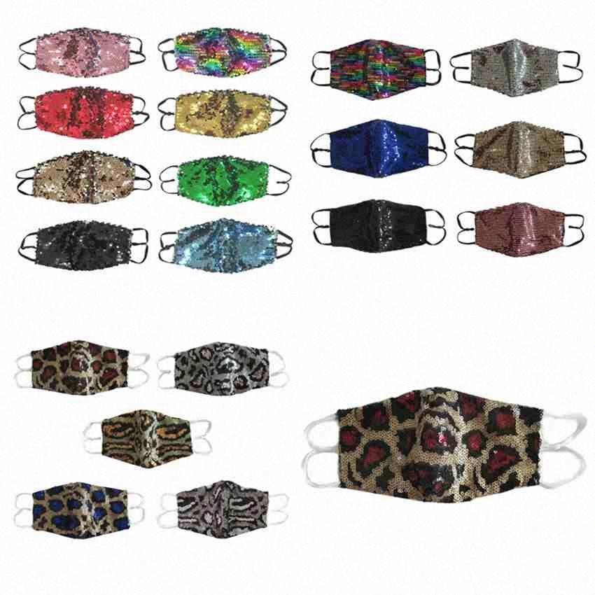 Bling di modo paillettes maschera di protezione antipolvere leopardo Maschere Stampa Maschere riutilizzabile lavabile Bocca Unisex Ciclismo Cotone Mask Designer CYZ2559 GymI #