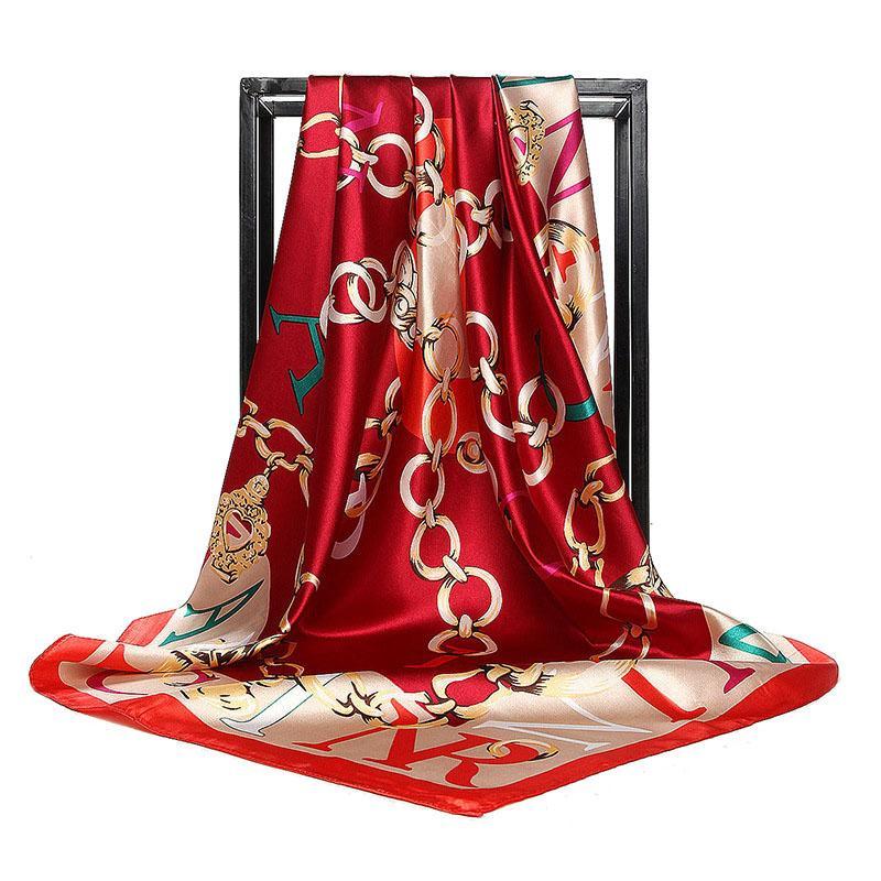 Women Twill Silk Scarf Letter Chain Print Square Scarves Wraps Fashion Hijab Headband