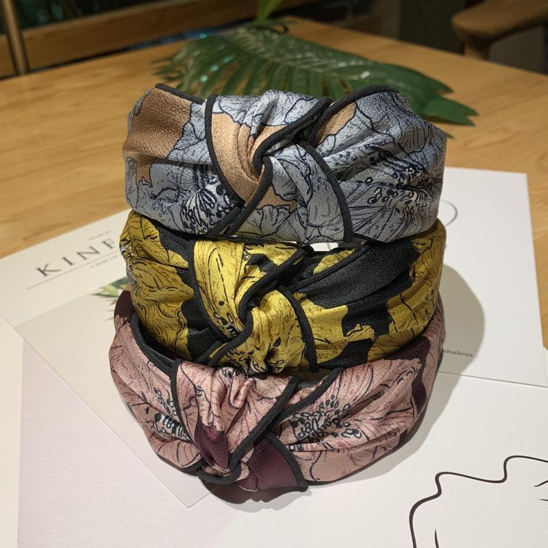 New Style coreana Headbands para mulheres clássicas Folhas Impresso Moda vestido principal Início Casual Senhora Yoga hairbands